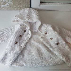 Fur lined White Sweater Jacket 6 mo girl